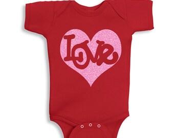 Love Inside Pink Glitter Heart Valentines Baby  bodysuit Red