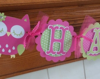 Owl Birthday Banner, 1st Birthday Banner, Owl Happy Birthday Banner, Hot Pink, green owl banner, matching poms are available