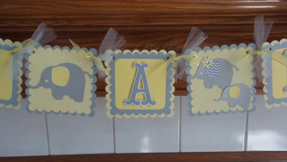 Its A Boy Baby Elephant Banner, Gender Reveal elephant Family Banner, Baby Boy elephant family banner, yellow and gray baby shower banner