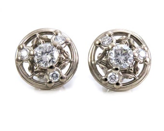 Palladium White Gold and White Diamond Post Earrings - Classic and Simple with Tiny Leaves and Flower Bud