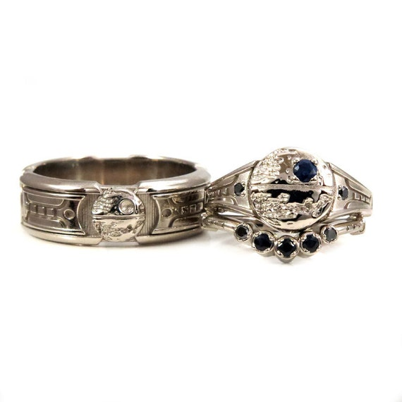 Items similar to lightsaber star wars engagement ring set for Star wars wedding rings