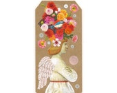angel bookmark - book tag - ArchAngel - original collage art - mini shrine - angel art