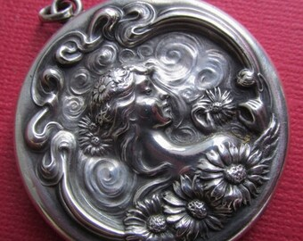 Summer Sale Art Nouveau Sterling Silver Figural Picture Locket Antique Lady With Flower Pendant Circa 1910 He Loves Me