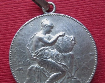 On Sale Antique French Silver Art Medal Pendant Lady France With a Globe Marianne by Alphee Dubois Dated 1910   SS-185