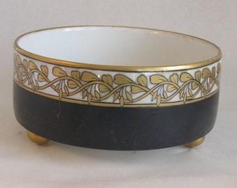 """T&V Limoges France Hand Painted Ferner Footed Planter Bowl with Gold Ornate Vine Border over Opalescent Glazed Band 7.5""""x3.5"""""""