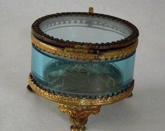 SALE French Casket with Gilded Brass Ormolu: Blue Beveled Glass with Hinged Lid, Pedestal Feet Antique