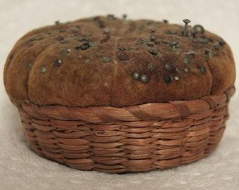 Vintage Antique Basket Pin Cushion Sewing Basket