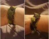 Free-form Peyote Green and Brown Bracelet