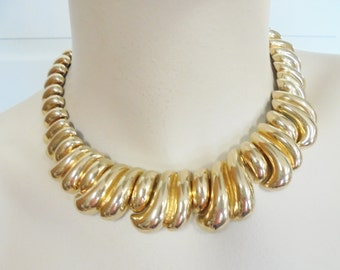 Vintage Collar Necklace / Choker Gold Plated Tone Large Chunky Retro 214 Grams Mod Boho Mid Century Statement