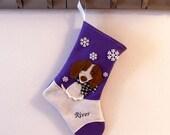 Piebald Dachshund Dog Christmas Stocking in Purple by Allenbrite Studio