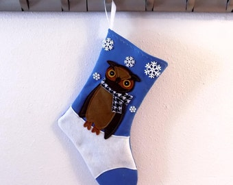 Great Horned Owl Personalized Christmas Stocking by Allenbrite Studio