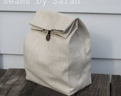 LARGE-  Cloth lunch bag with Handle   // Re-useable lunch sack // washable lunch bag