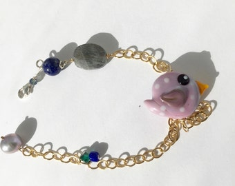 Purple Bird, gold Bracelet, Labradorite, Lapis, Gray pearl, Lightweight, lilyb444