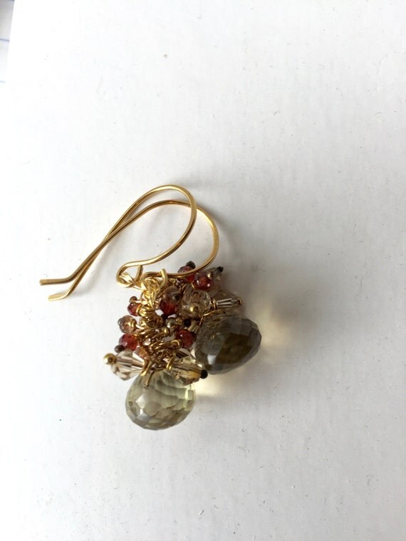 Lemon Quartz Garnet, Pink Andalusite, Peach and Gold Glitter Earrings,  Bridal, Etsy jewelry, Lilyb444, Gold earrings,