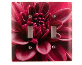 Switch Plate, Double Toggle, Dark Magenta, Red Dahlia