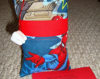Tooth Fairy Pillow with tooth holder: Spiderman