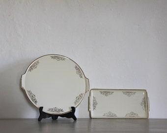 Antique French Cake Plate Serving Platter, Sandwich Serving Platter. Set of 2