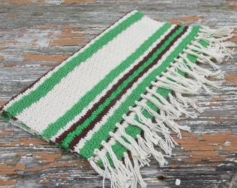 Vintage Swedish Green, Brown and White  Striped Crochet Table Runner
