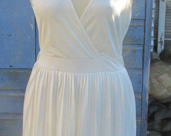 Sale ~ Vintage Early 1980s Marily Dress - Cream Slinky Polyester Wrap Top Dress with Pleat Skirt