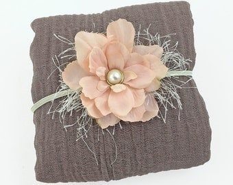 Latte Cheesecloth Wrap with Dusty Pink Headband - Cotton Newborn Posing Photo Prop, Neutral - Brown and Pink Baby Shower Gift