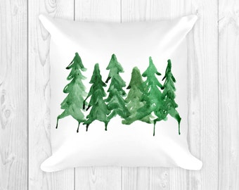 Northern Pines Pillow, Throw Pillow, Home Decor, Decor Pillows, Pine Trees, Woodsy, Nature, Cabin, Camp, Rustic, Evergreen, Watercolor, Home