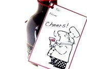 Set of NINE Printed Charming Illustrated RED WINE Gift Tags