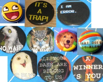 Choose 1 Meme Badge - 1 inch Button Badge - Funny Stuff