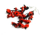 Long red earrings with coral and black string. Dangle natural earrings.