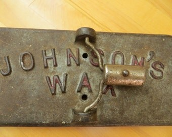 Vintage JOHNSONS WAX Industrial caste iron mop base 1900 to 1920 or so