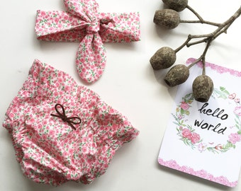 Newborn Photography Shoot Pink Floral Bloomers and Headwrap