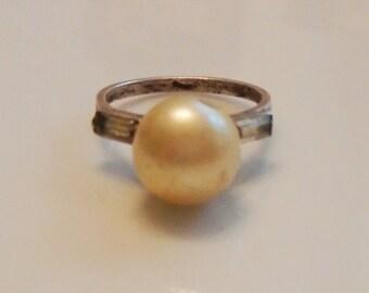 Sterling Silver Faux Pearl Ring Faux Diamond Baguettes 1950s Sz 5