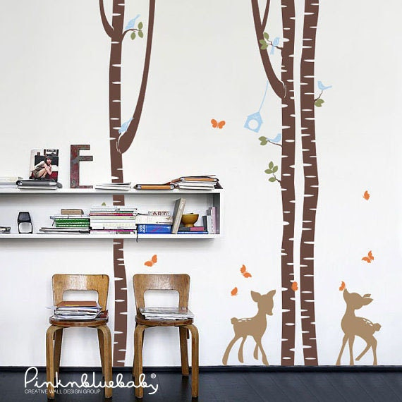 Birch Trees and fawns Removable Wall Decal