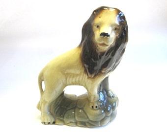 Vintage Lion Figurine Ceramic Statue Standing