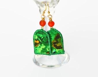 BOHO TEXTILE EARRINGS, dangle earrings, silk earrings, boho jewellery, festival jewellery, hippie earrings, arch, green and orange