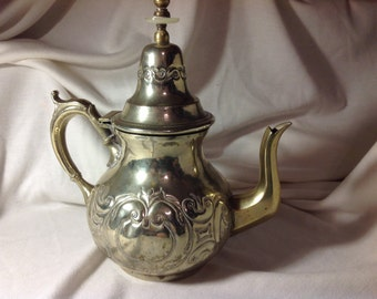 Silver and Gold Tea or Coffee Pot