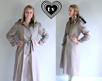 Half Off vtg 80s iced mocha HOODED belted TRENCH COAT jacket Large boho fitted outerwear puff sleeve