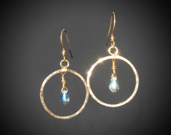 Hammered Brass Hoops with Aurora Borealis Teardrops (MX-15003-005)