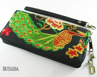 Personalized Monogramed Wallet, Peacock Embroidered Zippered Wallet, Colorful Hmong Tribal Long Wallet