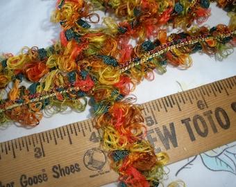 Confetti Ribbon Yarn string Fall colors 5 yards Gift Tie embellishment scrapbooking weaving Trim loop fringe green orange yellow tie tie