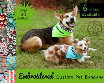 EMBROIDERED Custom Order Personalized Reversible Pet Bandana