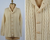 vintage cardigan/ Irish wool knit oversized sweater/ cable knit