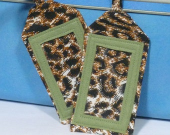 Luggage Tag,Fabric Computer Tag,Leopard ID Tag, Suitcase Tag,Back Pack Tag,Travel Identifier,Gift under 30,Valentine's Day Gift ,Set of 2
