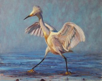 "Snowy Egret Doing ""The Crane"" (original oil painting)"