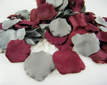 Grey and Burgundy Deep Red Rose Petals - 200 Artificial Petals - Wedding Decoration Flower Girl basket Petals - Burgundy and Grey