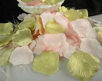 200 Rose Petals | Pink & Gold Bridal Shower First Birthday Decoration | Light Pink and Gold Flower Petals | Artificial | Flower Girl Petals