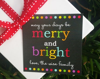 Personalized Christmas Gift Tags Printable or Printed with FREE SHIPPING- ANY Wording - Merry and Bright