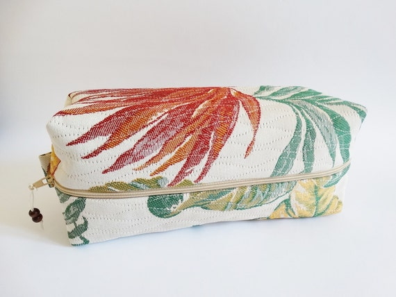 Man Toiletry Shaving Bag Woman SPA Party Bag Gift Zippered Pouch for Cosmetics Tropical Forest
