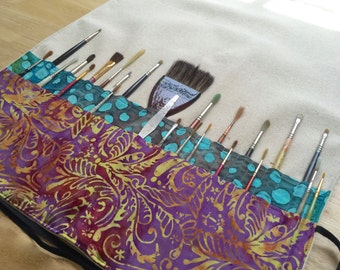 Extra Long Artist's Paint Brush Case/ Roll in Heavy Weight Natural Canvas Holds 46 Brushes