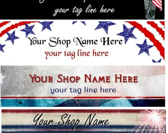 Cover Photo  Ready Made Patriotic 4th of July Red White and Blue Stars Flag American Banner  - You Pick One