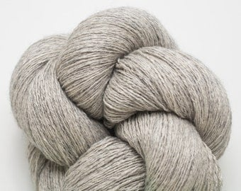 Ashes Silk Cashmere Lace Weight Recycled Yarn, Heather Light Gray, 1142 Yards Available
